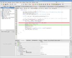 screenshot showing netbeans Source debugging STM32 via stlink gdbserver