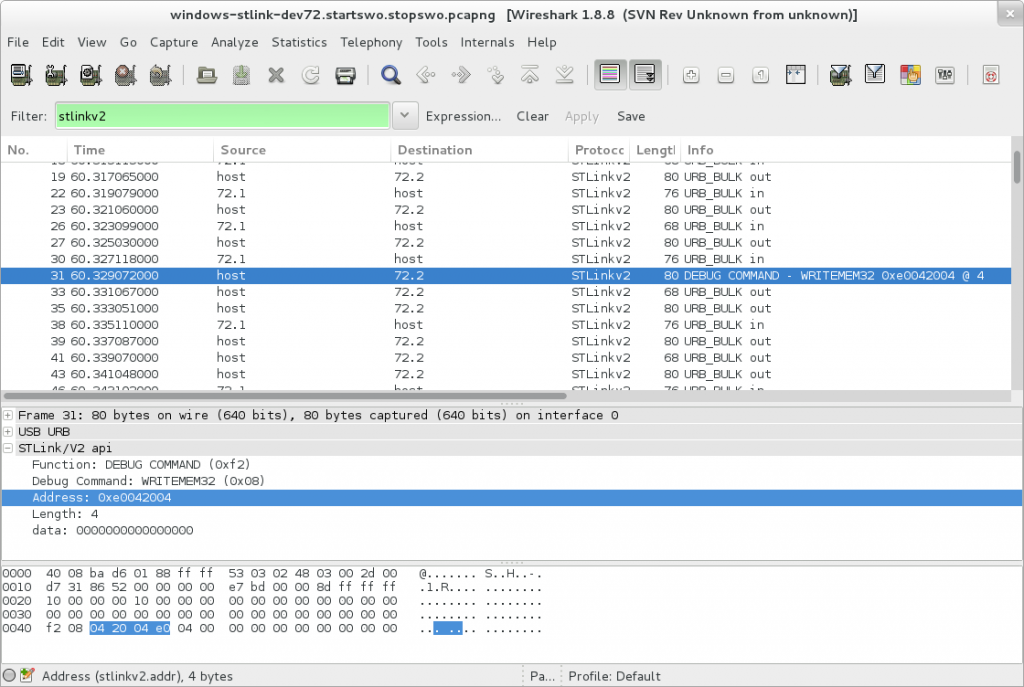 With the plugin, note that the info column isn't always showing the proper values.  No idea why.  wireshark's weird